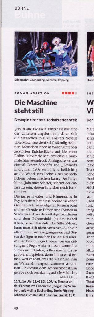 Evy Schubert | Die Maschine steht still | Theater an der Parkaue | Zitty
